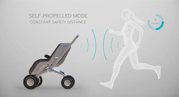 Умная коляска Smartbe - поддерживает безопасную дистанцию